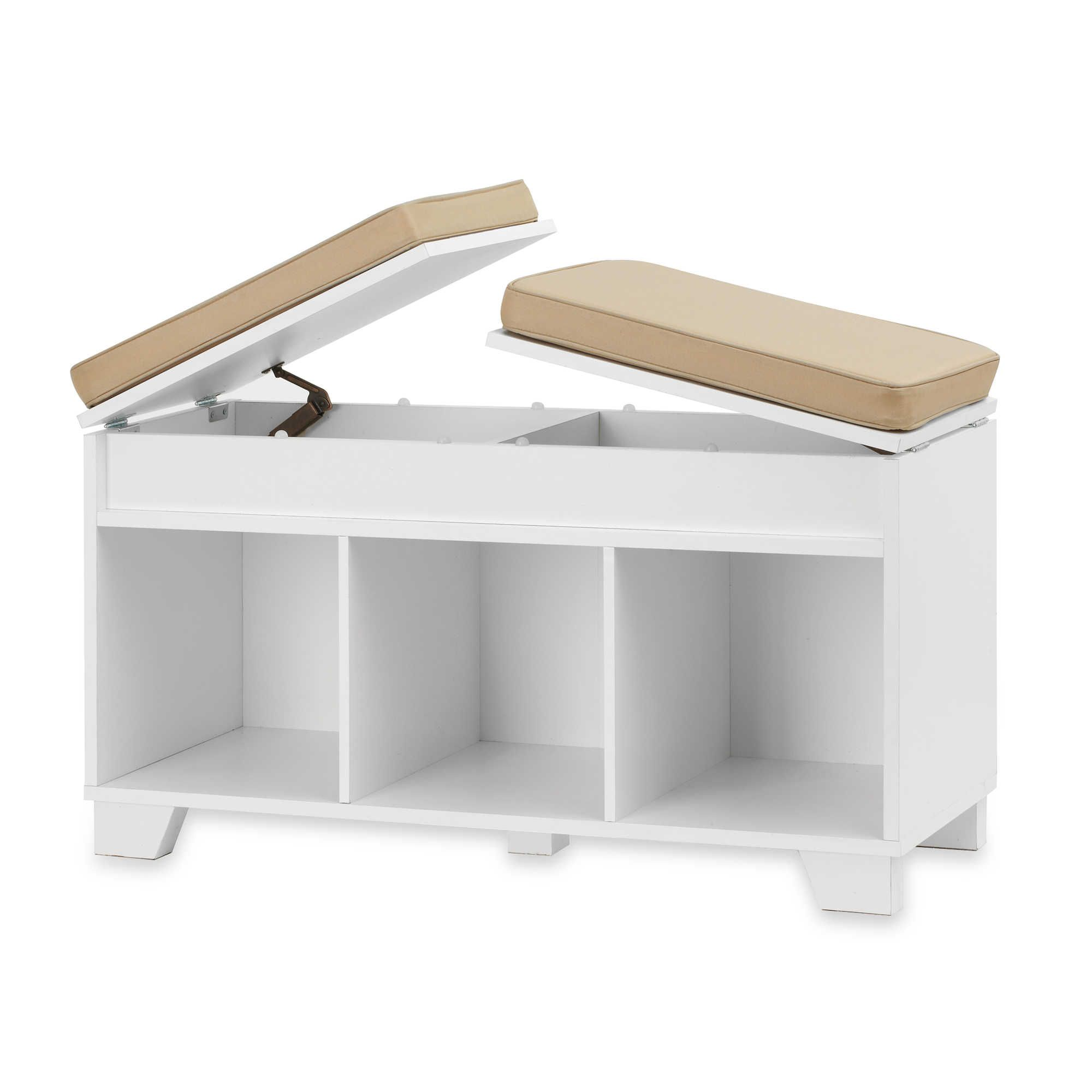Real Simple 3 Cube Split Top Storage Bench In White White