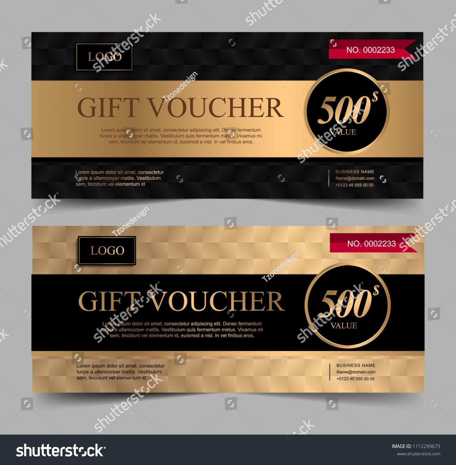 Voucher Template With Gold And Certificate Background Design