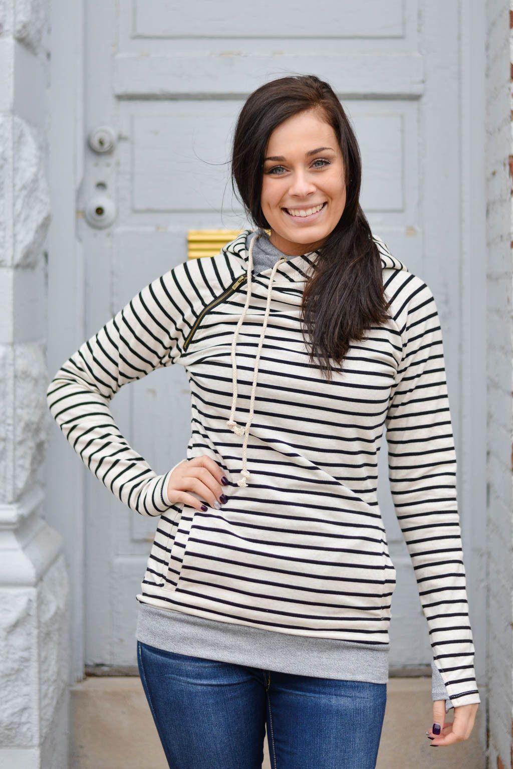 Double Hooded Sweatshirt in Oatmeal Stripe