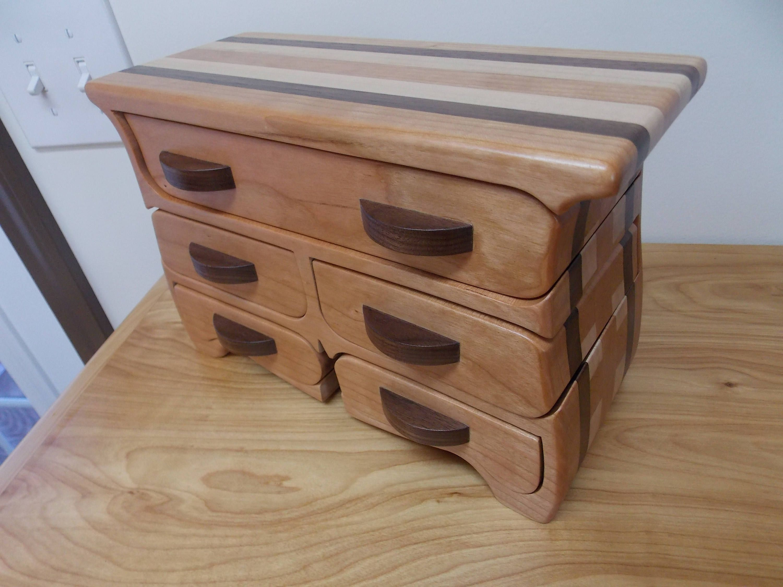 Large Cherry Wood Jewelry Box Cherry Walnut and Maple Jewelry Box