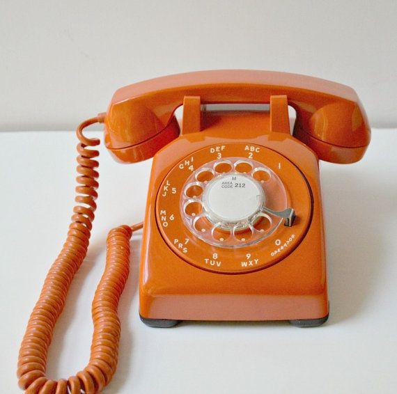 Vintage Rotary Dial Orange Desk Phone Retro By Thegoldgator 110 00