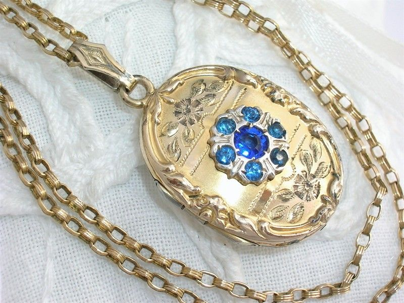 C1930 Antique 10k Gold Gf Blue Stone Locket Necklace Ebay Locket Necklace Necklace Blue Stone