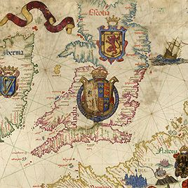British Library Catalogues: Maps and Cartographic Materials: http://www.bl.uk/reshelp/findhelprestype/maps/cataloguesmapsandcartographicmaterials/cataloguesofmaps.html (here: Elizabeth I's Map of the British Isles, 1558)
