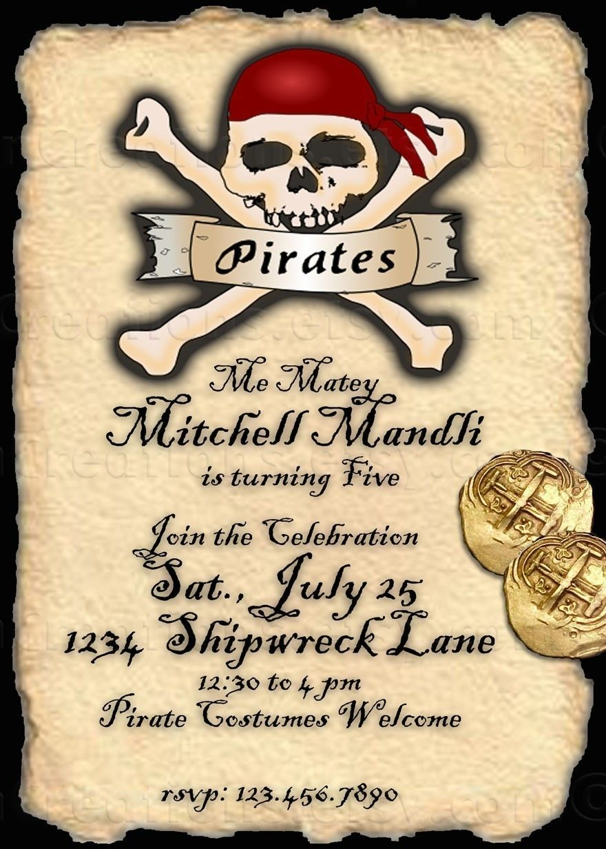 Pirate Party Invitation - digital file | *Art that Inspires ...
