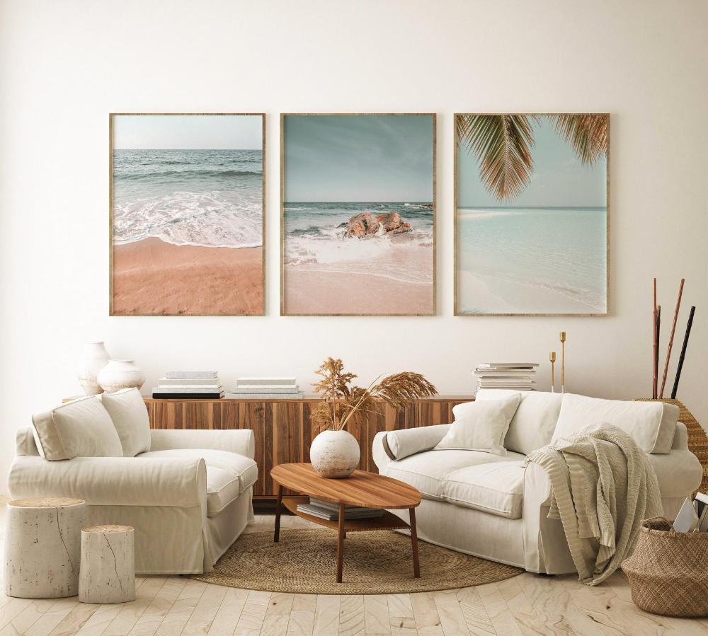Tropical Beach Print Set of 3, Palm Tree & Ocean D