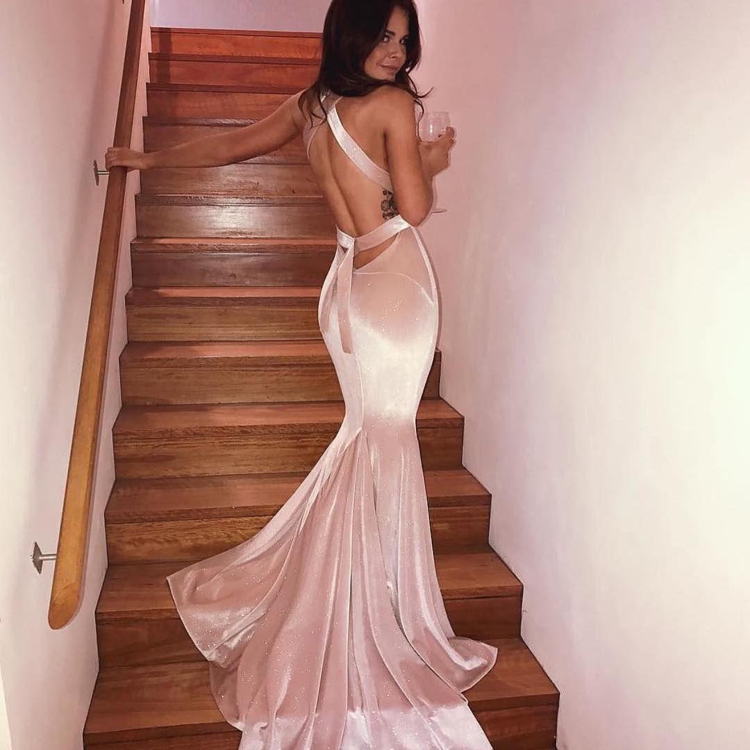 Gorgeous v neck mermaid pink velvet long prom dress moh duties