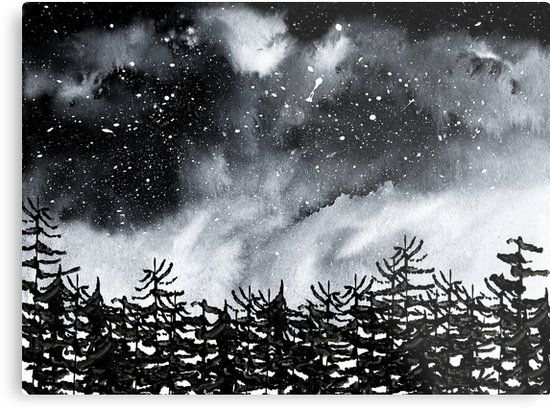 9aaed916ecc Watercolor and digital Forest and night sky. Black and white with a dark  mood. • Also buy this artwork on wall prints