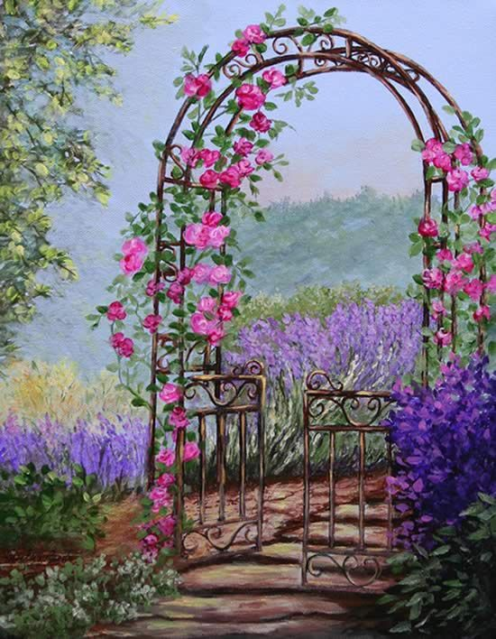 Painting Garden Gate Floral Paintings by Shirley Reade Cose
