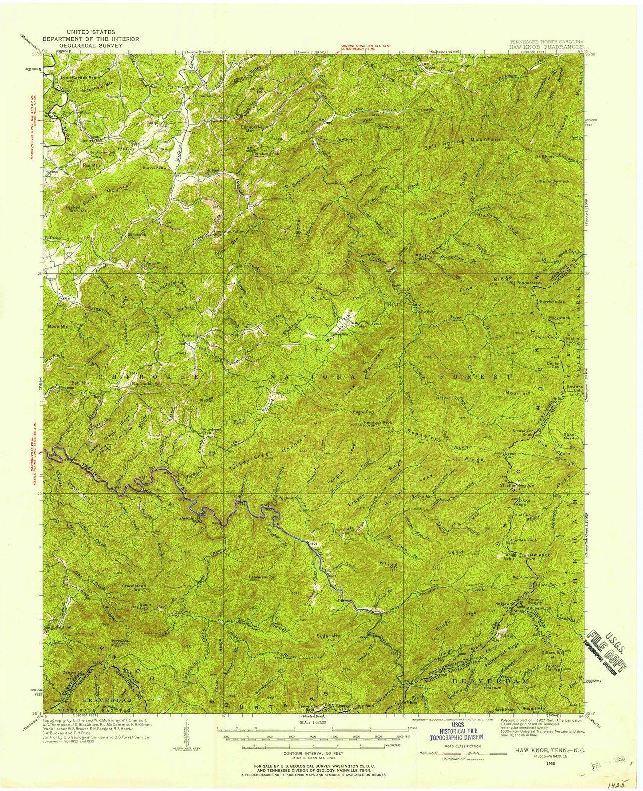 <p>1933 Haw Knob, TN - Tennessee - USGS Topographic Map</p>
