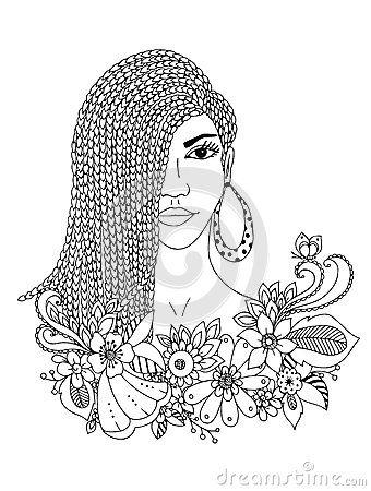 Vector illustration zentangl portrait african american woman mulatto negro doodle floral frame