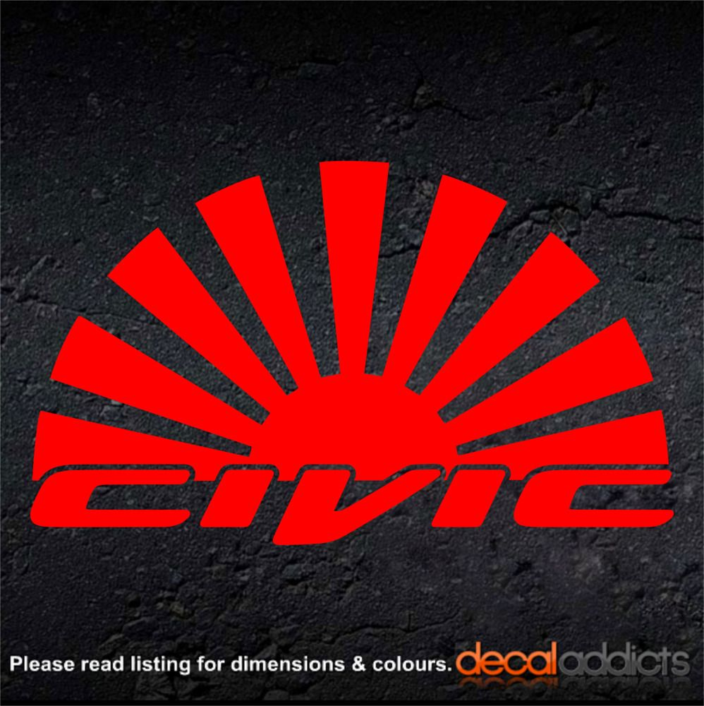 Honda Civic Jdm Rising Sun Arc Vinyl Car Decal Sticker 100x60mm Type R Type S Honda Civic Sticker Sign Car Decals Vinyl