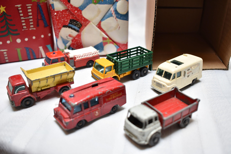 Vintage Matchbox Lesney Gift Set, Trucks, Fire, Dump, Tv, 6