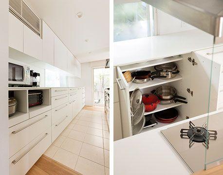 画像3 キッチンの背面収納は 手持ちの家電の大きさをはかり 使っ