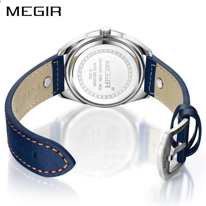 Megir Luxusní značky Muži Quartz Hodinky Pánská armáda Vojenská sportovní hodinky  Originální kožená kapela Vodotěsné hodiny e702a9ef15