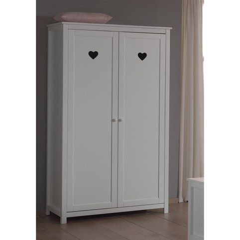 armoire penderie 2 portes enfant amori de vipack blanc vue 1