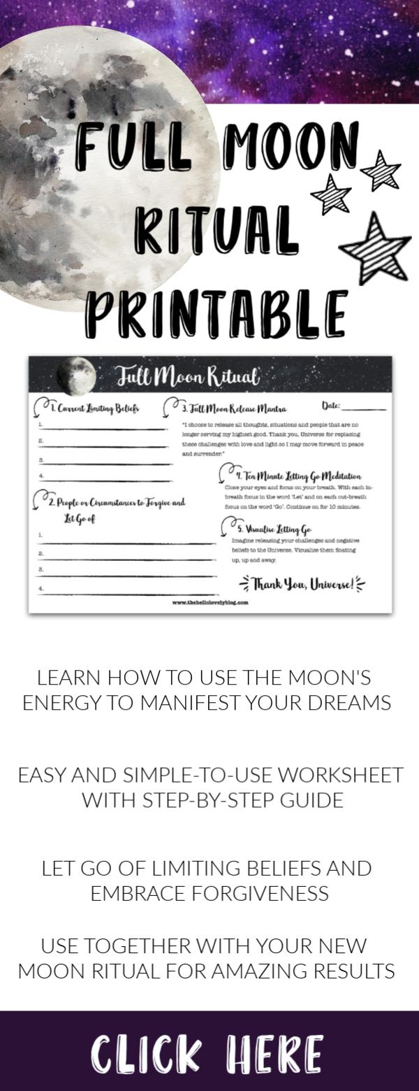 Printable Full Moon Ritual Manifestation Monthly A4 A5 Us Letter Universe Magic Love Abundance Letting Go Full Moon Ritual New Moon Rituals Full Moon