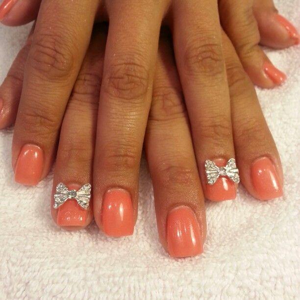 Papaya Princess IBD Just Gel Polish and 3d bows | Nails by...Me ...