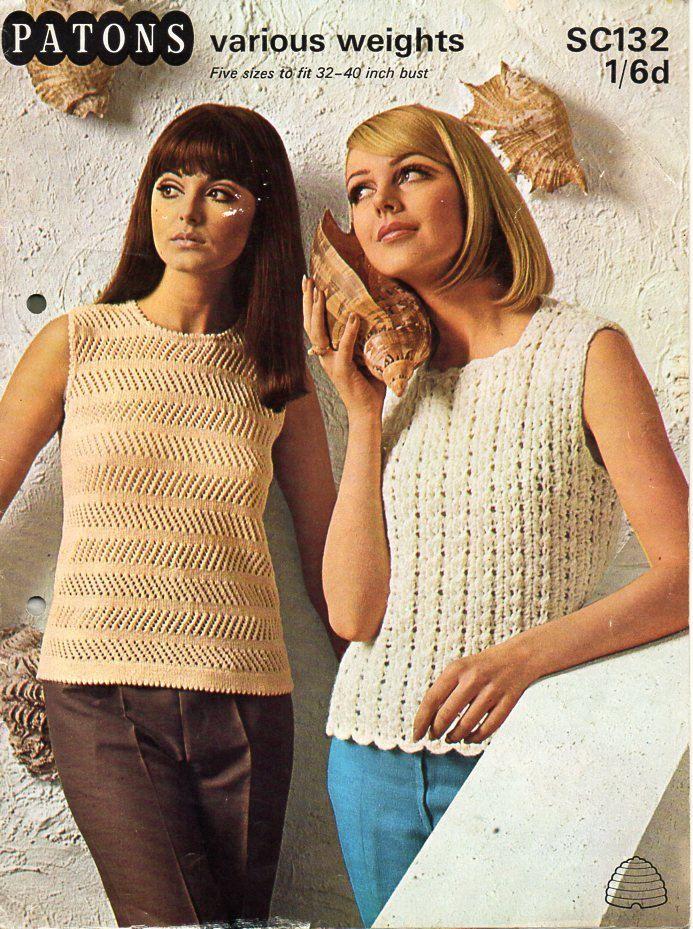 ladies tops knitting pattern pdf womens tops Vintage 60s sleeveless ...