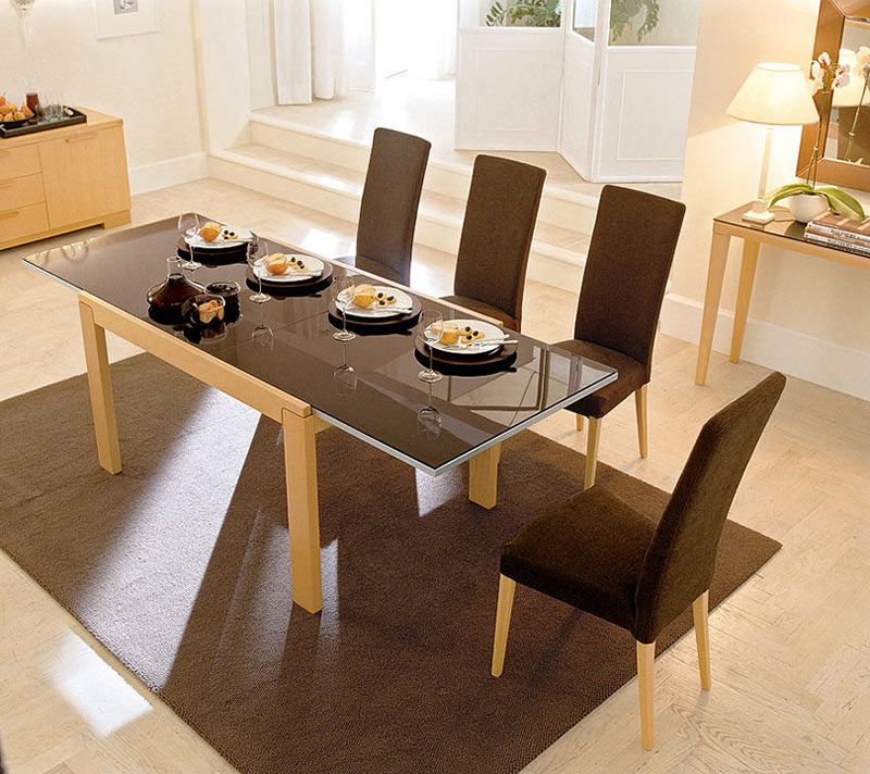 Awesome Gorgeous Dining Table Decorating With Glass Top Dining Set And Cream Wooden  Frame Table Iea Also Brown Fabric Chairs Using Cream Wooden Chairs And  Brown ...