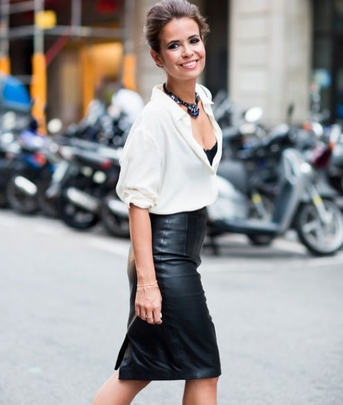 black leather skirt white blouse | Street life | Pinterest | 16 ...