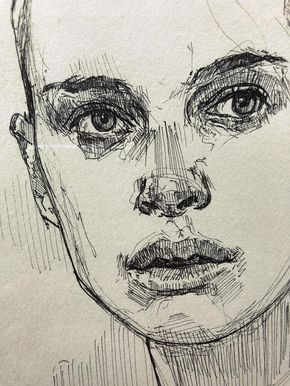 Hand drawn portrait of Natalie Portman from