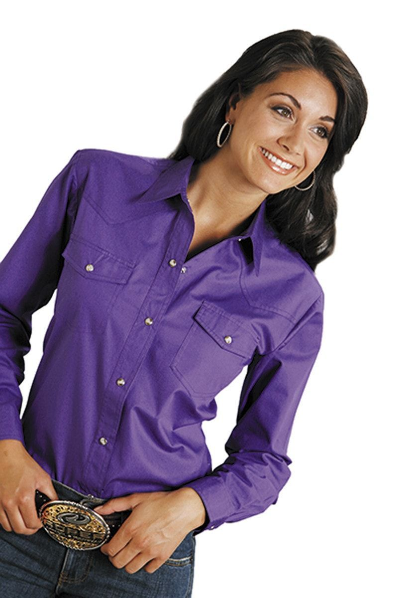 59cef923 Roper Womens Purple 100% Cotton L/S Solid Poplin Snap L/S Western Shirt