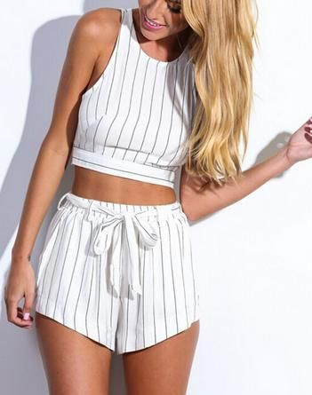 Pinstripe White Two-Piece from Dream Closet Couture. Saved to Tops. Shop more products from Dream Closet Couture on Wanelo.