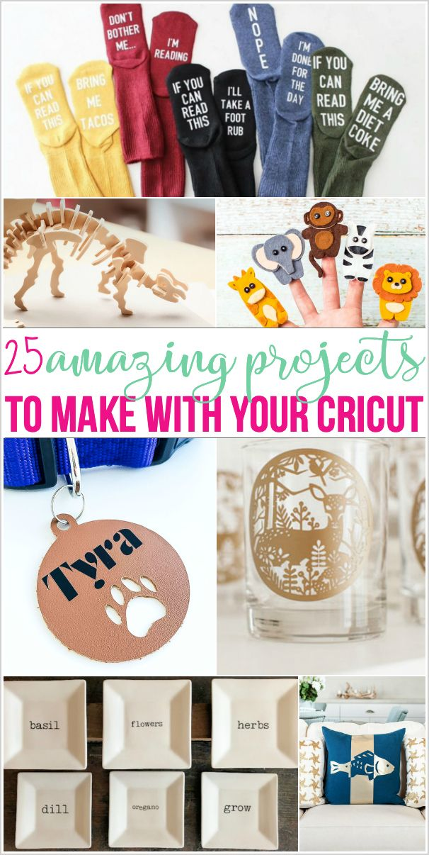Wondering what can a Cricut do? or What are some fun Cricut projects for beginners? How about Cricut projects to sell? I have 25 amazing projects to make with your Cricut! Includes Cricut projects for pets, kids, gifts, pillows, toys and more!#cricut #cricutcrafts
