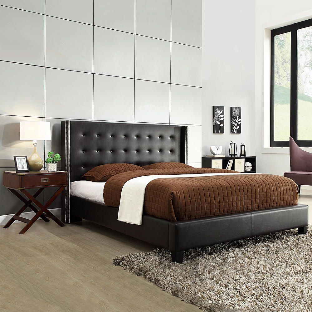 to make bed different from the one in guest room would like nail heads and  tufting INSPIRE Q Marion Black Bonded Leather Nailhead Wingback Platform Bed  ...