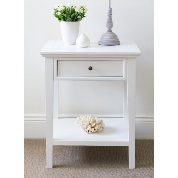 Bedside Table With One Drawer And Shelf Small Bedside Table White Bedside Table Small Bedside