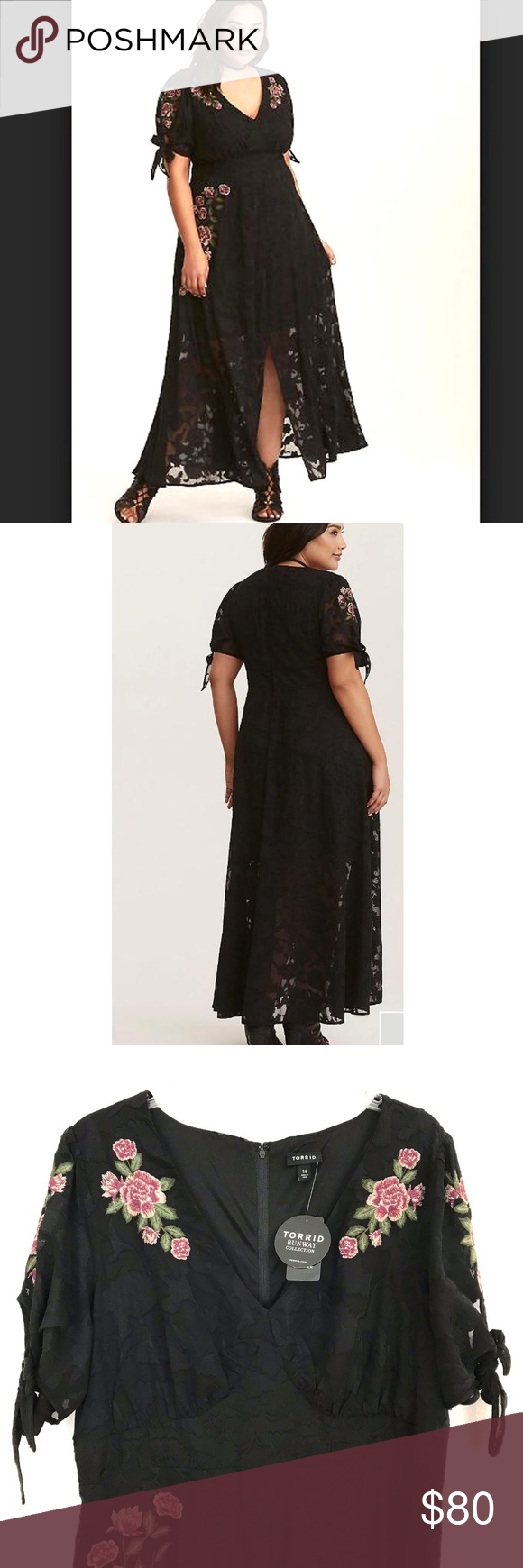 db9ce05f79ad Torrid FLORAL EMBROIDERED Chiffon maxi dress plus RUNWAY COLLECTION - BLACK  FLORAL EMBROIDERED CHIFFON MAXI DRESS