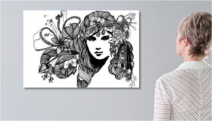 Tableau Peinture/dessin Nadia une toile de Chris Laure impression