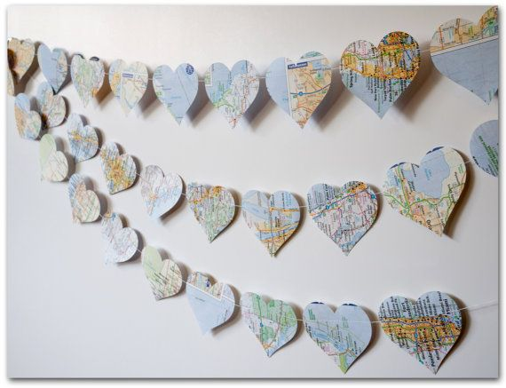 Map Hearts Garland 9 feet Love on Location 3 inch hearts cut