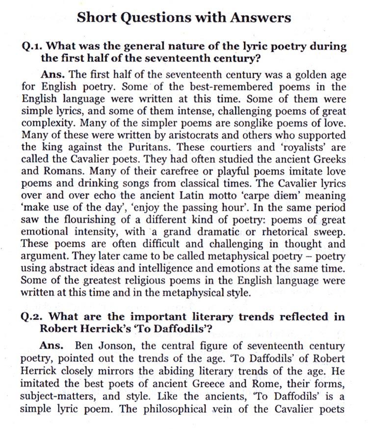 Short Questions With Answers To Daffodils Robert Herrick