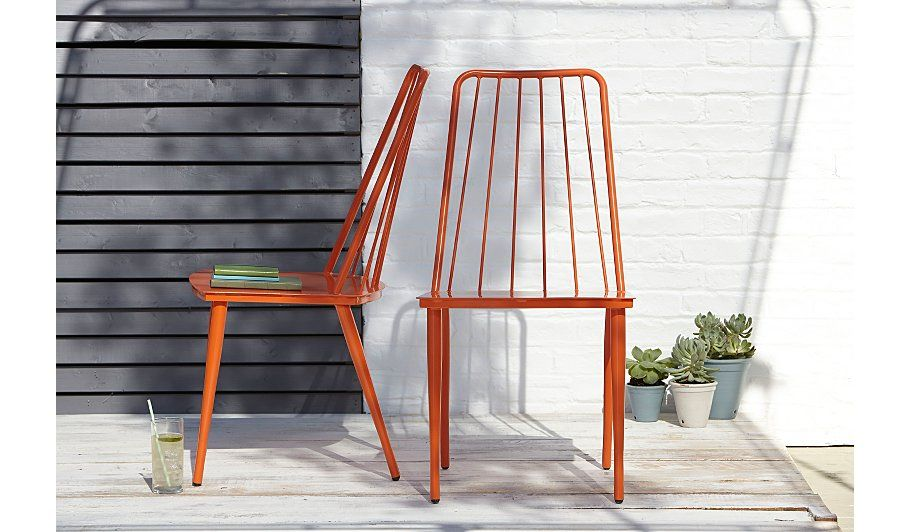 George Home Retro Dining Chairs in Summer Orange - Pack of 2 | Patio ...
