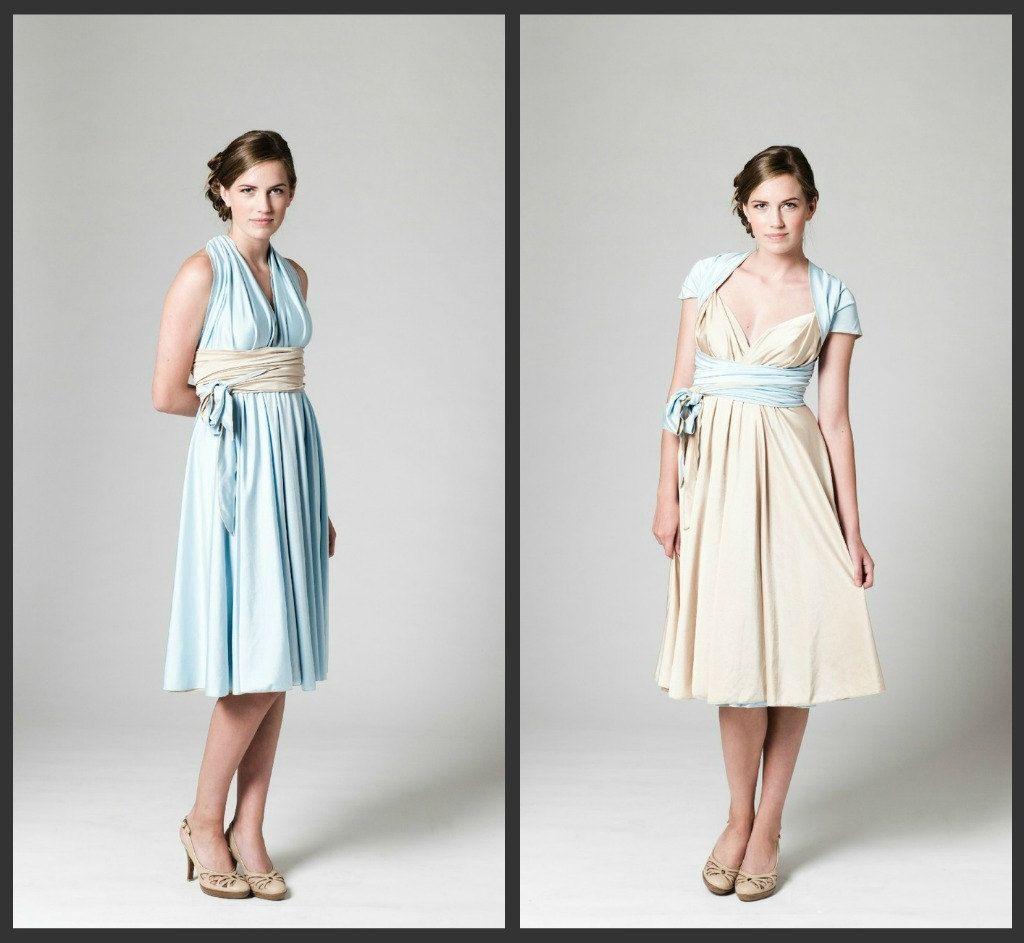 Convertible bridesmaid dress reversible blue dress champagne convertible bridesmaid dress reversible blue dress champagne dress 23500 via etsy ombrellifo Images