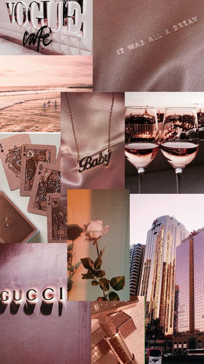 rose gold aesthetic - collage wallpaper