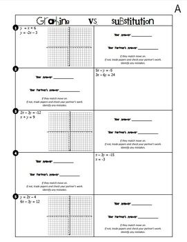 Systems of Equations (Graphing vs. Substitution) Partner Activity ...