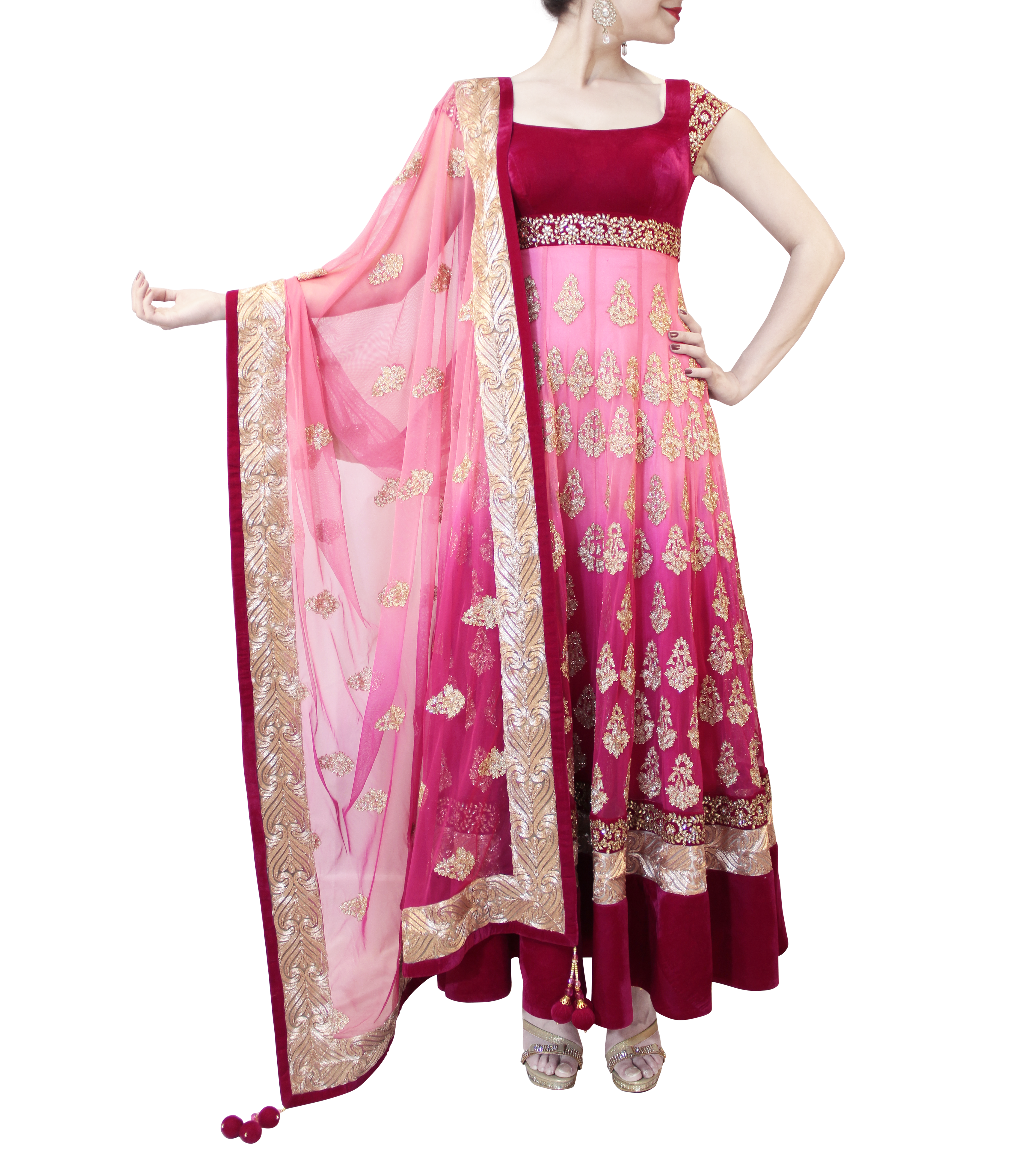 SHADED LIGHT TO DARK PINK HEAVY ANARKALI | Anarkali Suits | Pinterest