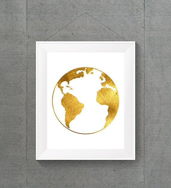 Gold Foil Globe World Globe World Map World Map by MyntPrintables