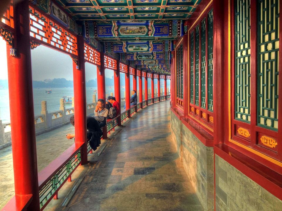 廊下, 北海 (ペイハイ), 寺, 禁止された宮殿, 北京, 中国, アーキテクチャ, ランドマーク, 建物