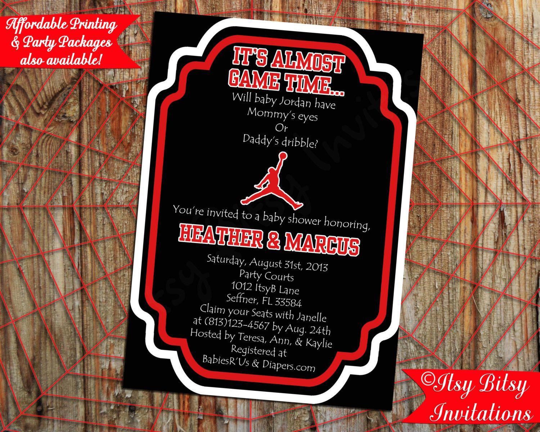 Basketball Air Man Baby Shower Invitation by ItsyBitsyInvitations – Michael Jordan Birthday Invitations