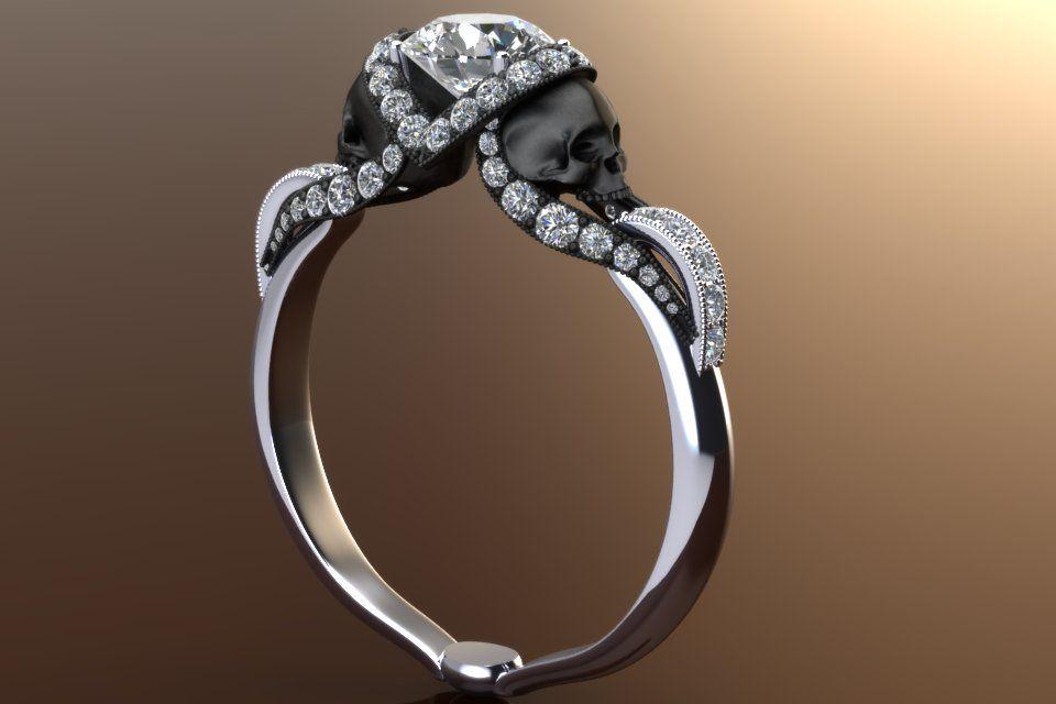 Diamond Vapor Skull Ring With Half Carat Center 14k White