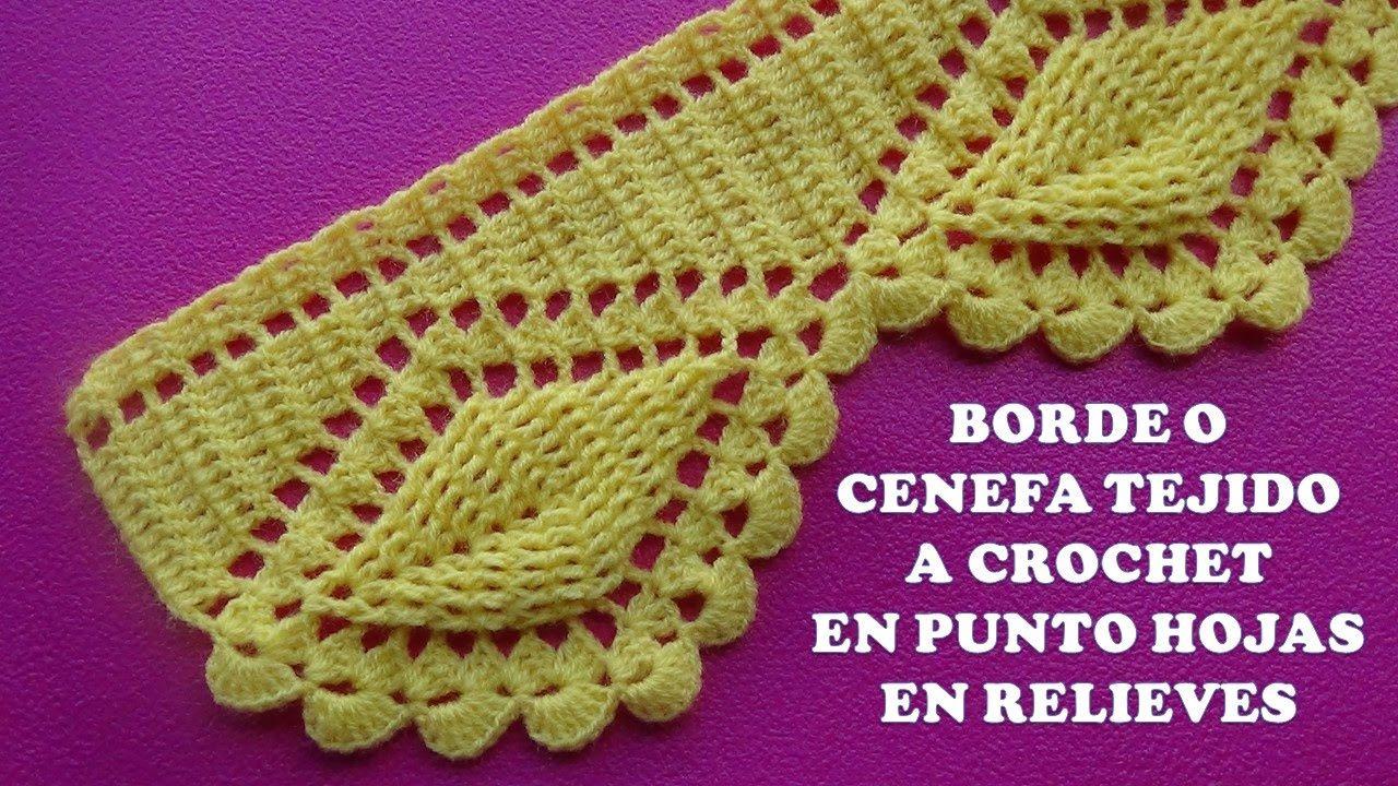 Borde o cenefa hojas en relieves tejido a crochet para - Colchas a ganchillo muestras ...