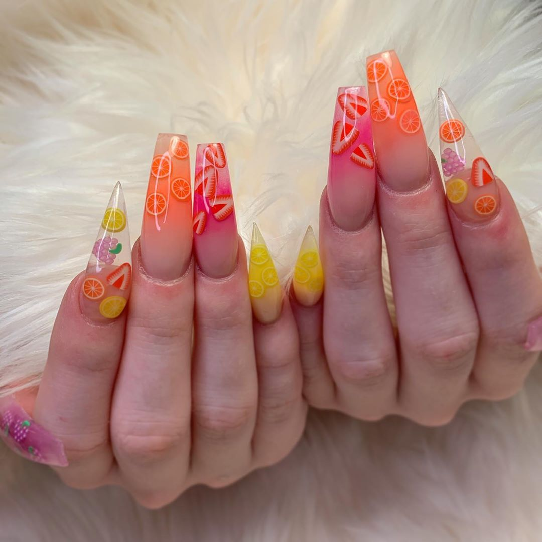 Felisa On Instagram Fruit Slices Anyone Using Valentinobeautypure Pigments As Usual Thatcry Fruit Nail Art Summer Acrylic Nails Lemon Nails