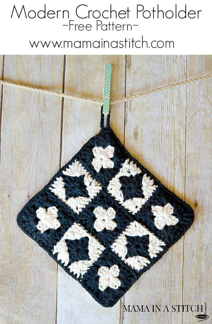 Modern Granny Square Crochet Potholder | Topflappen, Stricken und ...