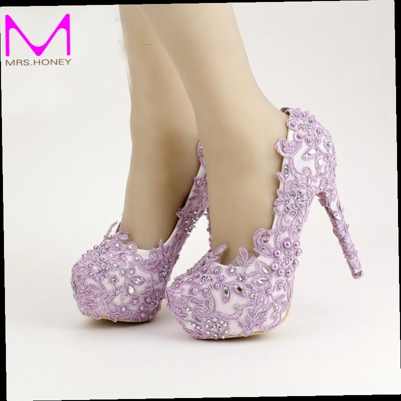 ... Lavender Bride Shoes High Heel Platform Shoes with Lace Flower  Rhinestone Wedding Shoes Spring Women Pumps for Prom Event 2bb6393b2341