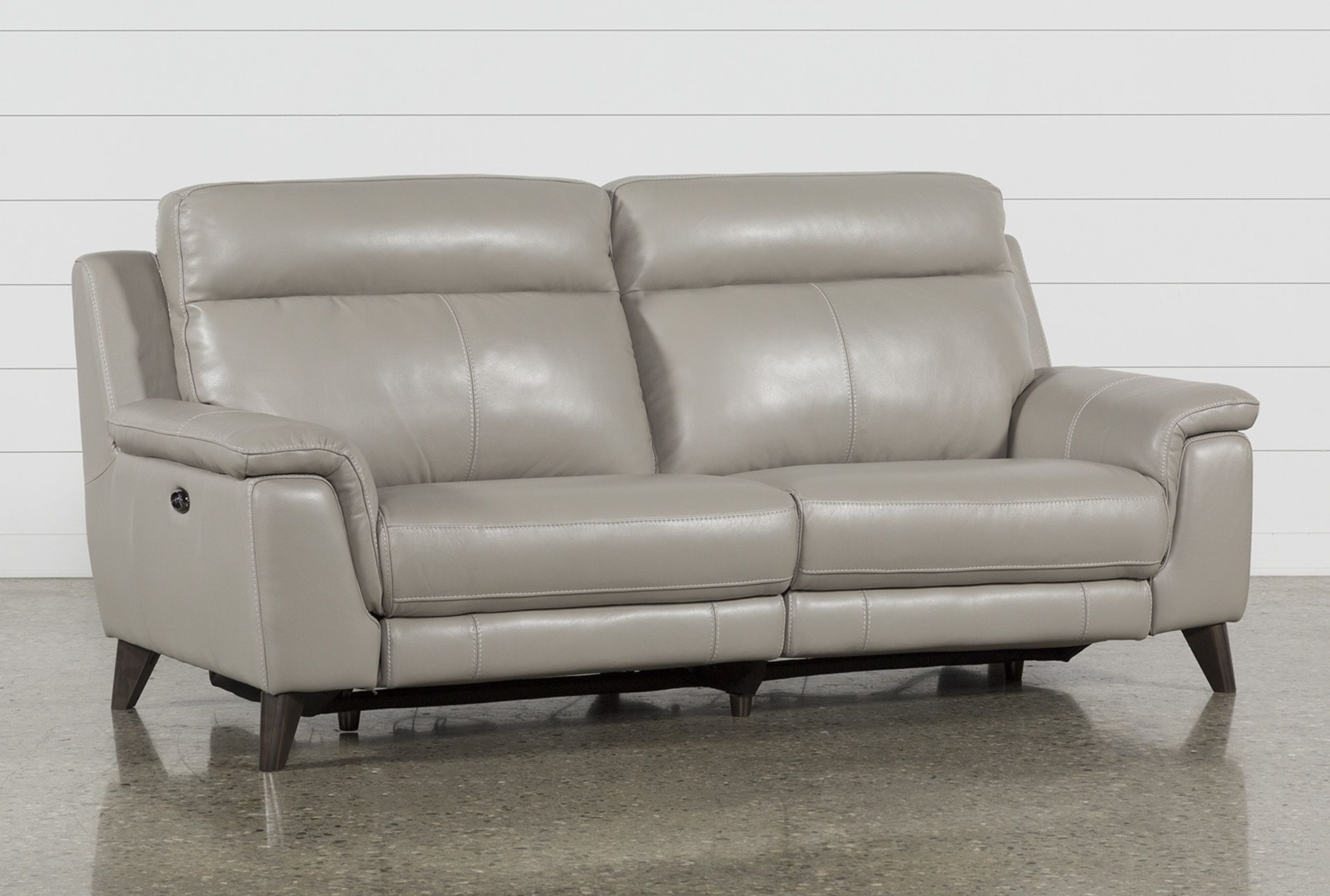Moana Taupe Leather Dual Power Reclining Sofa With Usb Reclining
