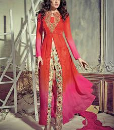 Buy Red georgette embroidered unstitched salwar with dupatta indian-dress online