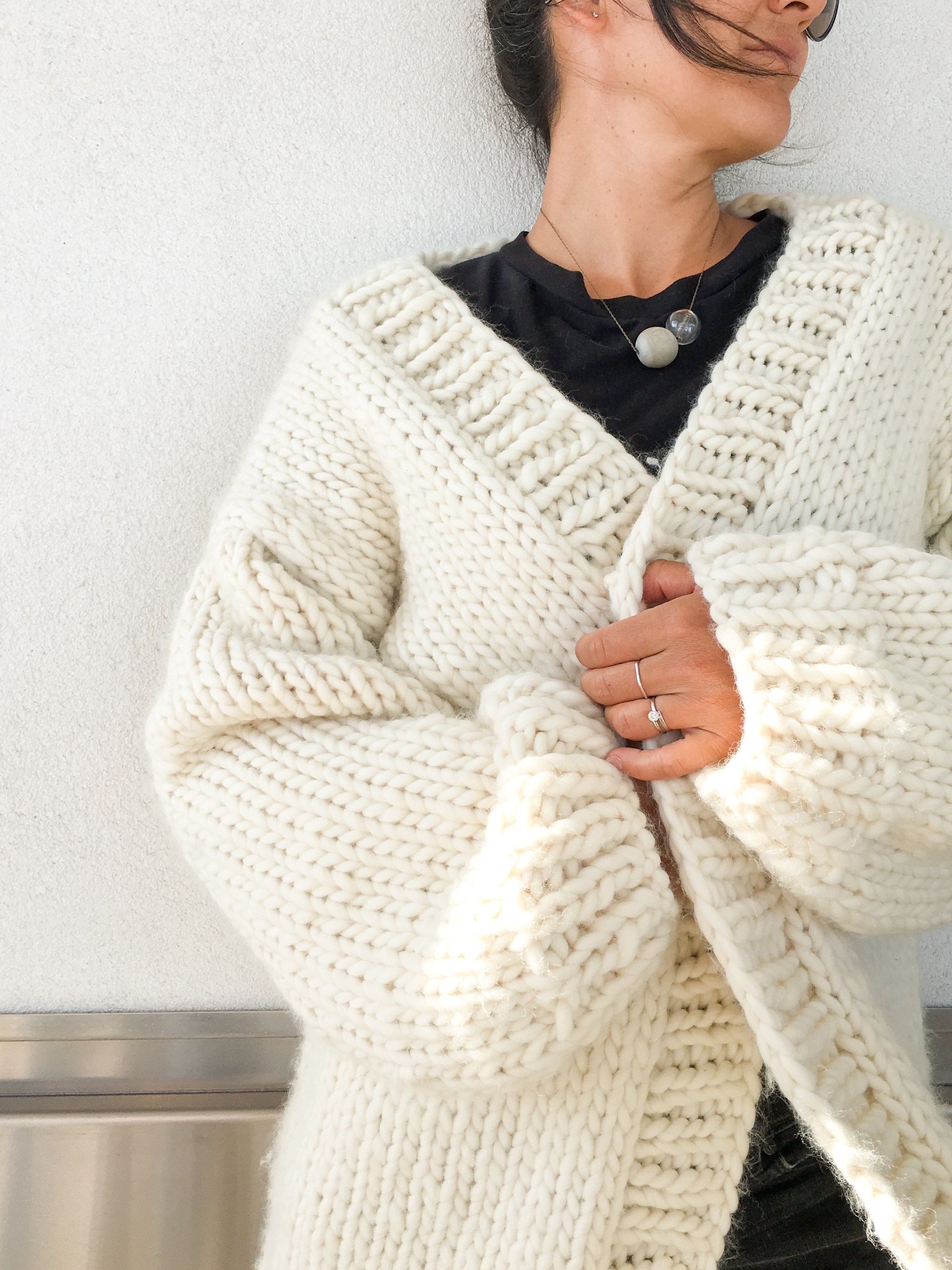 Simone Chunky Cardigan Knitting Pattern and Kit - Flax & Twine